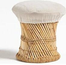 SKLUM Tabouret Bas en Bambou Thëss Blanc