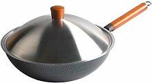 SKRHFLH Pot En Fer 32cm Non Enduit Santé Wok