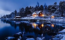 Small Village Beside The River In the Winter