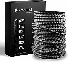 smartect Fil Electrique Textile pour Lampe - Noir