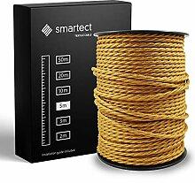 smartect Fil Electrique Textile pour Lampe - Or -
