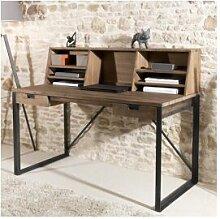 SO INSIDE Bureau 2 tiroirs avec étagères bois