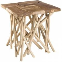 SO INSIDE Table d'appoint design teck et bois