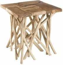 SO INSIDE Table d'appoint design teck et bois