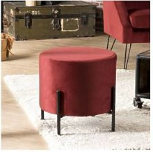 SO INSIDE Tabouret bas rond 40 cm tissu velours