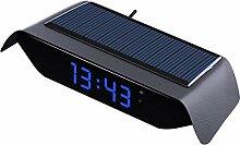 Solaire lumineux horloge de voiture thermomètre