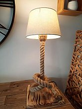 Solenzo - Lampe de chevet bois et corde - abat