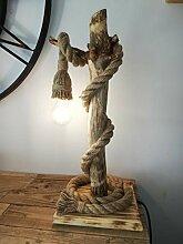 Solenzo - Lampe de table en bois flotté naturel -
