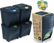 Sortibox Lot de 4 poubelles de cuisine (80 l 4 x