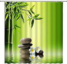 Spa Zen Bouddha Eau Yoga Rideau De Douche Vert