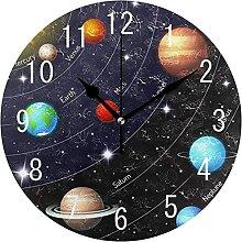 Space Planet Horloge murale ronde en bois avec