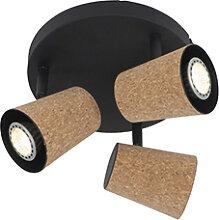 Spot de plafond noir avec abat-jour en liège