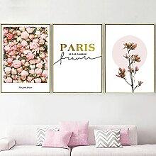 SSHABC Rose Pivoine Magnolia Fleur Paris Mur Art