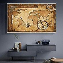 SSHABC Vintage Carte du Monde Toile Peinture