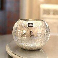 SSXCO Vase en verre plaqué argent avec boule en