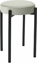 STACK - Tabouret Empilable Rond Velours Gris - Gris