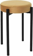 STACK - Tabouret Empilable Rond Velours Ocre -