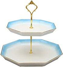 Stand de gâteau en céramique à deux niveaux