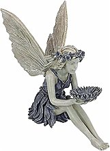 Statue Fée Assise, Ornements Fée Jardin en Plein