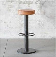 Steel - tabouret de bar industriel en acier et cuir