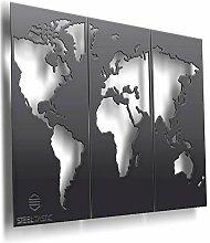 SteelTastic Tableau mural carte du monde en tôle