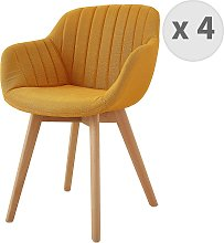 STEFFY - Chaise scandinave tissu curry pied hêtre
