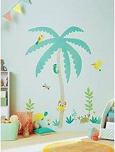 Sticker géant enfant île palmier multicolore