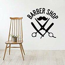 Sticker mural amovible salon de coiffure coiffeur