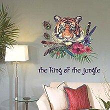 Sticker mural auto-adhésif plume de tigre chambre