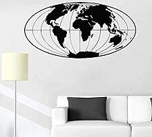 Sticker mural chambre Art carte du monde Sticker