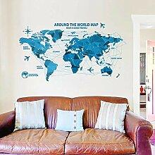 Stickers muraux carte du monde bleue pour chambre