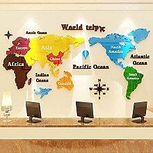 Stickers muraux carte du monde, papier peint 3d-A