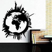 Stickers muraux Carte du monde Voyage City Skyline