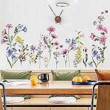Stickers muraux de plantes fraîches fleurs roses