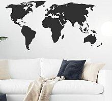 Stickers muraux en vinyle noir carte du monde