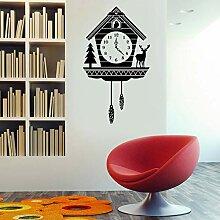 Stickers muraux horloge coucou rustique pour