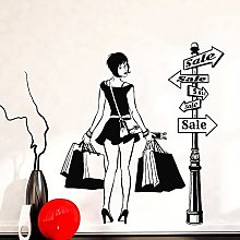 Stickers muraux modernes fille shopping discount