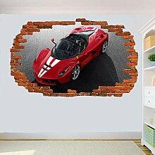 Stickers muraux Voiture De Sport Rouge Autocollant