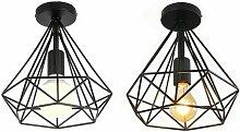 Stoex - Lot de 2 Plafonnier industriel retro cage
