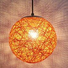 STOEX Orange Rétro Suspension Luminaire en Rotin