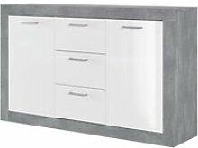 Stone buffet 2 portes 3 tiroirs - decor beton et