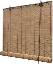 Store enrouleur bambou brun 120 x 160 cm fenêtre