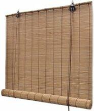 Store enrouleur bambou brun 80 x 160 cm fenêtre