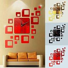 Style moderne bricolage 3d grande horloge murale