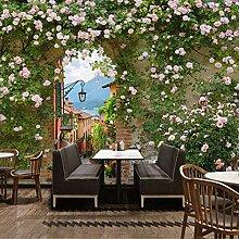 Style pastoral fleur papier peint rétro rose lait