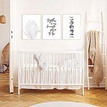Style Plume Affiche Noir et Blanc Toile Peinture