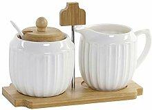 Sucrier Blanc en Porcelaine et Bambou avec son pot