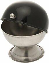 Sucrier inox couvercle noir 14 cm