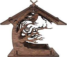 SunshineFace Mangeoire à oiseaux en bois en forme
