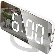 Sunydog LED Miroir Horloge Mini Réveil Numérique